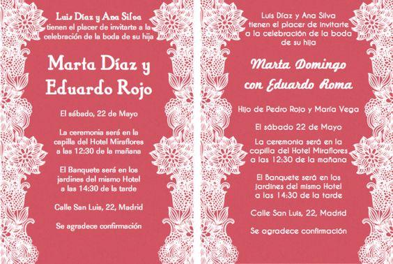 Spanish Wedding Invitation Wording Ideas Pinterest Invitations And