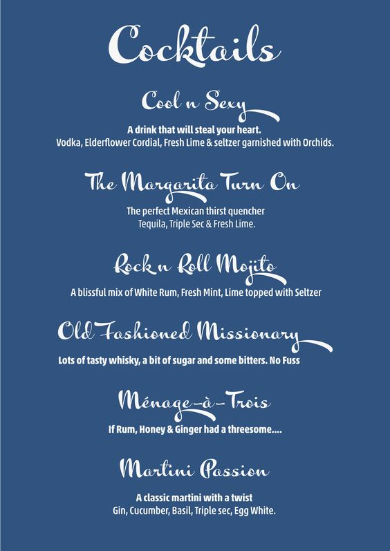 Cocktail Menu for a fun \ Sexy Party Bar Collaterals Pinterest - cocktail menu template free download