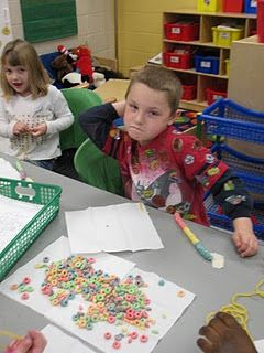 Make necklaces with 100 Fruit Loops for the 100th day of school! Practice counting by 10's to create necklace.