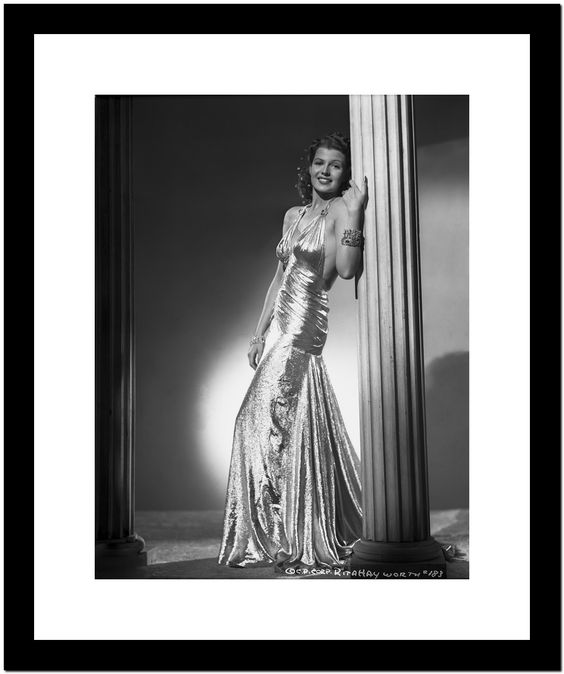 Rita Hayworth Leaning on Post in Black Gown Premium Art Print