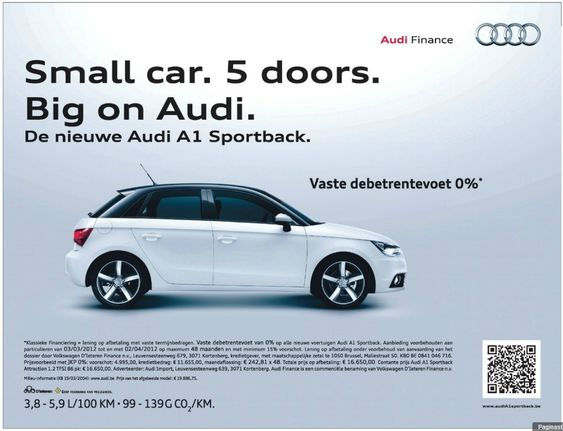 Newspaper ad from Audi, appeared in national newspapers in Belgium on 12 March.