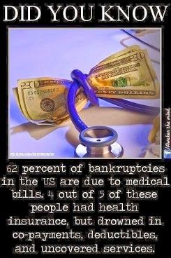62% of US bankruptcies are due to medical bills, and 4 out of 5 of these people HAD HEALTH INSURANCE.   Fight the negativity. #YourStory #GetCovered #GetTalking #Obamacare Join us, Share, Tell your friends. The time is NOW. http://facebook.com/ACASuccessStories http://twitter.com/ACASuccessStory