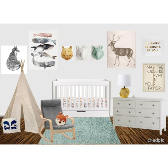 Gender Neutral Nursery Mint White Gold Grey Modern Baby Room With Animals