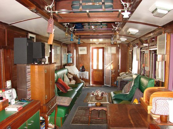 Trix Pienaar 39 S South African Actress Recycled Train Coach House The Interior Of The Coach Is