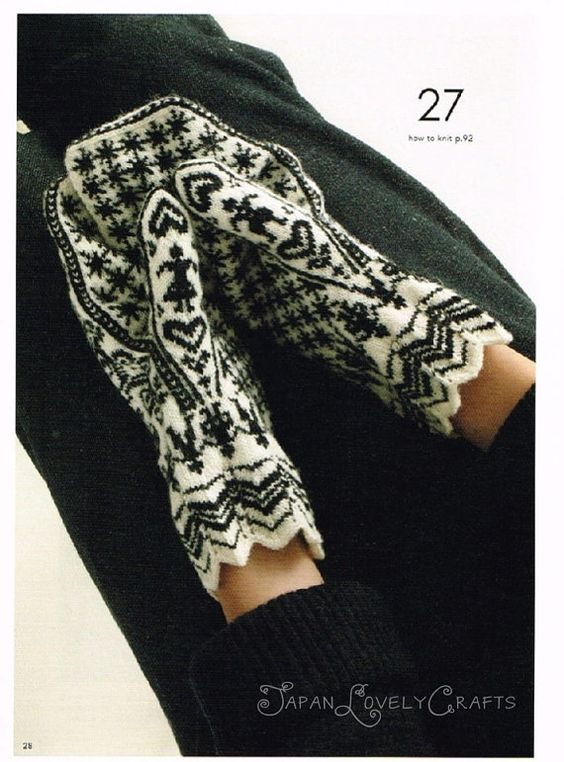 Hand Knit Mittens Japanese Knitting Pattern by JapanLovelyCrafts