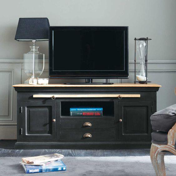 Meuble TV en manguier noir - Chenonceau meuble TV Pinterest