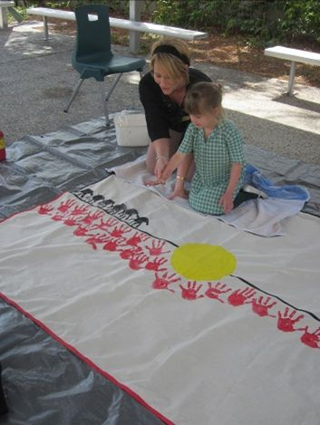 Naidoc week collaborative art @erinewing50 could do with whole centre?