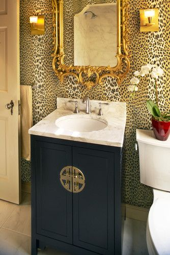 leopard wallpaper, Midnight blue Chesterfield Sofa with gold accents n d mirrors n lights~