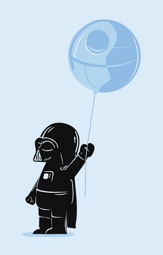 Darth Vader with Death star balloon