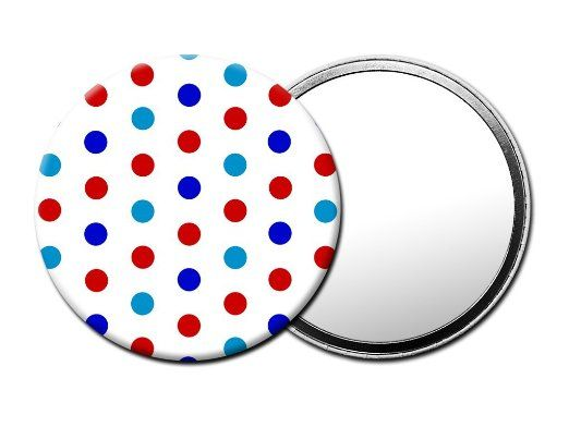 M048 Red White and Blue Polka Dot HANDHELD TRAVEL MIRROR with Luxury Pouch:  A strong and lightweight cute little compact mirror. Click on the image to purchase. The ideal travel companion! Click on the image to purchase.