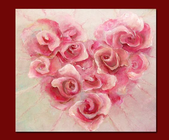 heart of roses  60x70cm  Paintings of Anna Amrhein, Germany