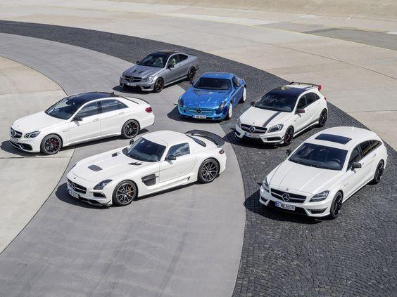 Mercedes Benz AMG - line up SLS blackseries - E63 AMG - C63 Blackseries - CLS63 shooting break - A45 AMG