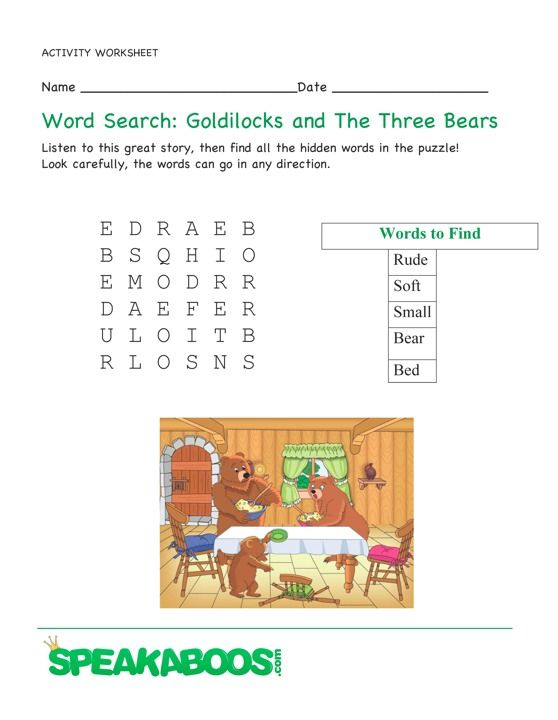 math worksheet : word search goldilocks and the three bears  speakaboos  : Goldilocks And The Three Bears Worksheets Kindergarten