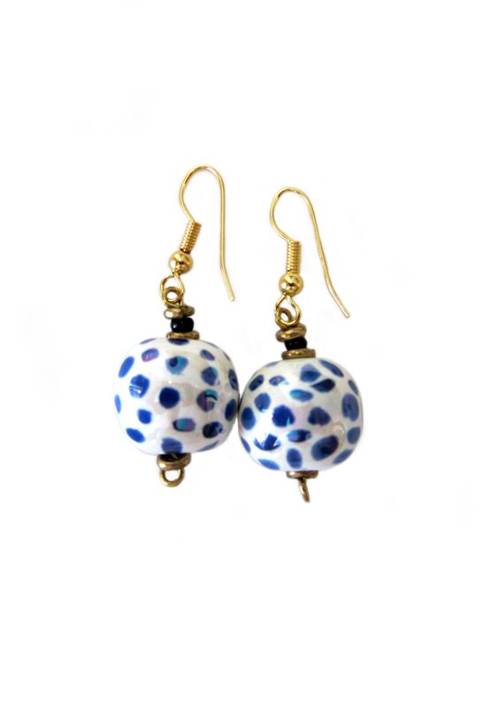 Kazuri Blue Polka Dot Earrings