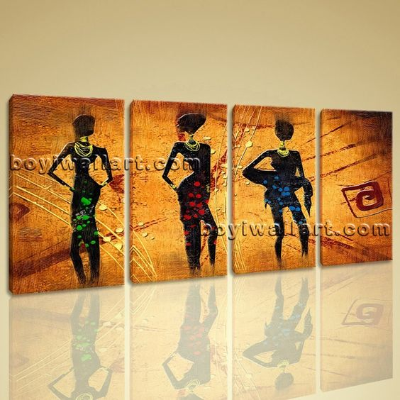 Large Vintage African Ethnic Figure Contemporary Canvas Art Print ...