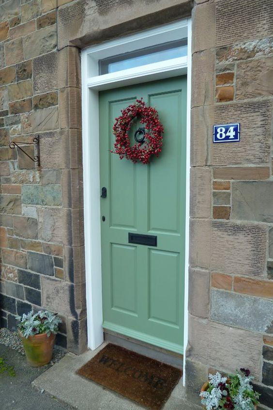 Krista 39 S Festive Front Door In Farrow Ball 39 S Calke Green Estate Eggshell Farrow Ball