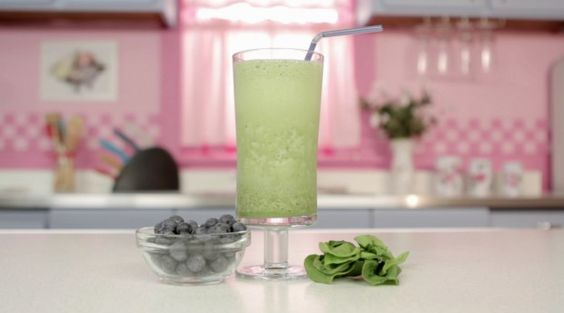 Blueberry Spinach Smoothie  Ingredients:  1/2 cup almond milk, unsweetened  1 cup blueberries  3 cups spinach