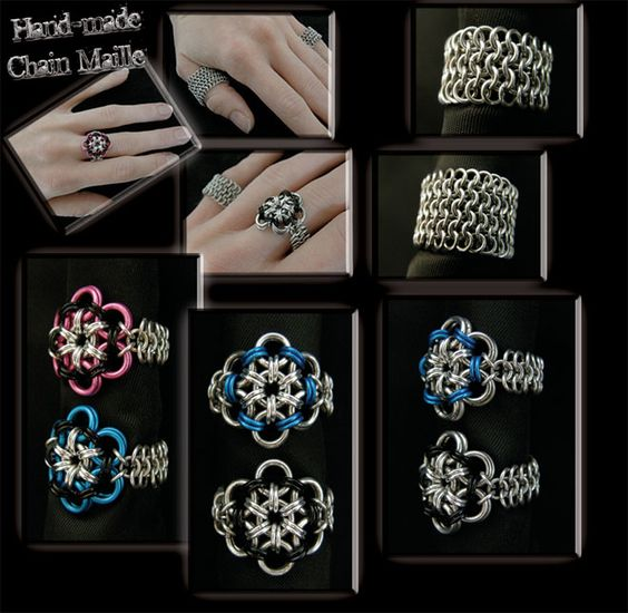 Chain Maille Flower Rings