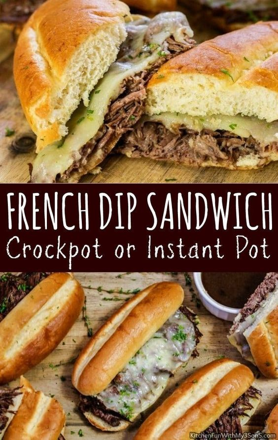 Make this Slow Cooker French Dip Sandwich loaded with rich beef flavor, fresh he...