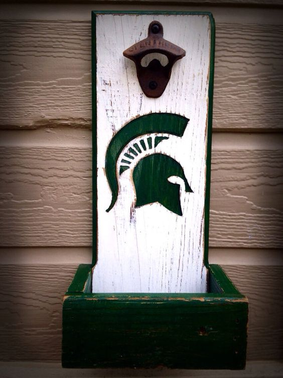 Michigan State Spartans bottle opener with cap catcher