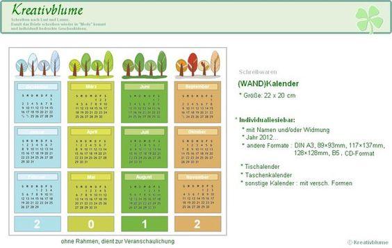 Jahreskalender 2014 Bäume