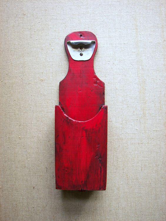 Bottle Opener Wall Or Cabinet Mount Cap Bin By
