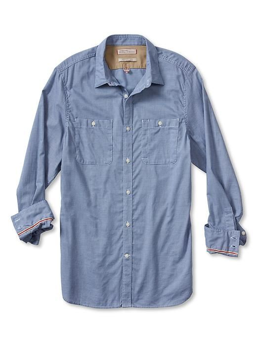 LINK : https://yroo.com/af/1446520/ruid/21327 Banana Republic Mens Heritage Micro Houndstooth Utility Shirt Size L Tall - Ocean | 36% OFF