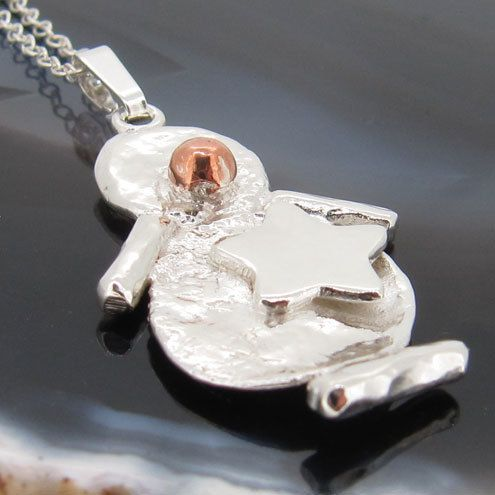 Snowboarding Snowman Pendant in Sterling Silver and Copper  £15.00
