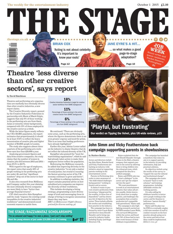 The Stage front page | October 1 2015: Theatre 'less diverse than other creative sectors', says report.
