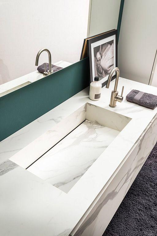 Vasca integrata per bagno, top in laminato stratificato HPL ...