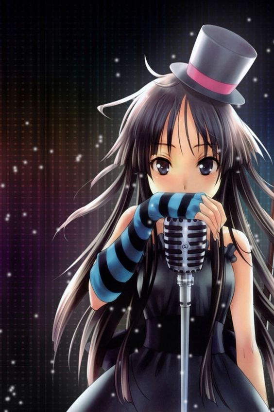 Anime black hair microphone