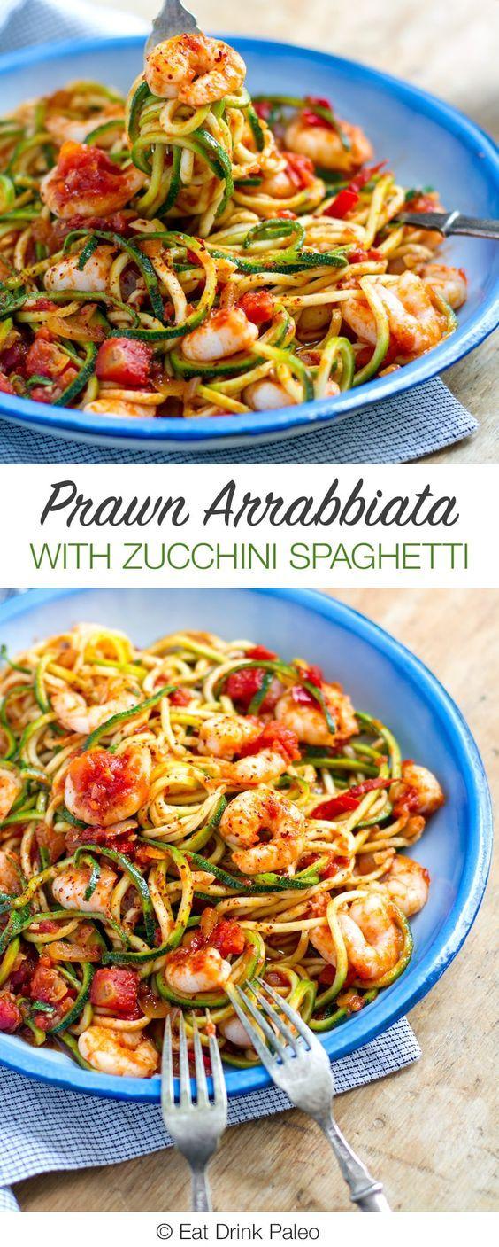 Prawn Arrabbiata With Zucchini Spaghetti - paleo, grain and gluten free, low carb, very nutritious and tasty. Recipe via http://eatdrinkpaleo.com.au/zucchini-spaghetti-recipe-prawn-arrabbiata/