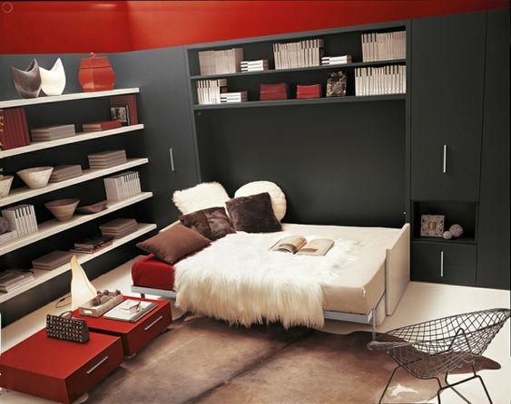 moderne wohnideen klappbett schrankbett schwarzes schranksystem