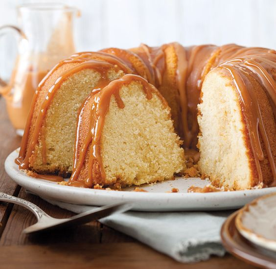 Drizzled in sweet Vanilla-Bourbon Caramel Sauce, this beautiful Vanilla Bundt Cake with Caramel Sauce will be the showstopper at your next gathering.