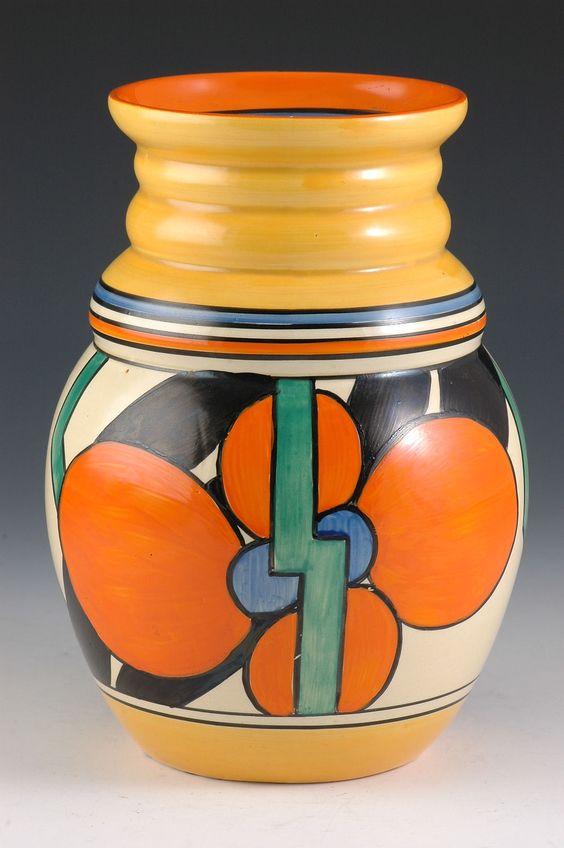 Clarice Cliff 358 Shape Vase - Picasso Flower Pattern - Bizarre Marked - 1929 -