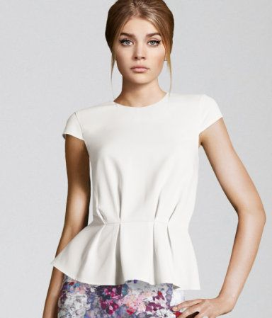 Gorgeous White top of wonder with Peplum styled pleats | H US