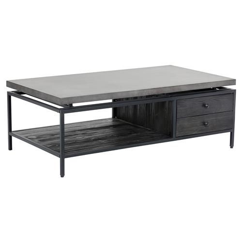 Jaxton Industrial Loft Grey Concrete Rectangular Storage Coffee