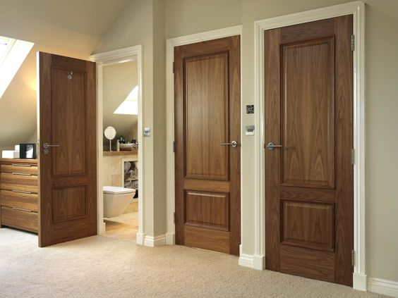 Classic two panelled walnut internal doors - pure luxury.  JB Kind's Royale Bespoke 12M Walnut