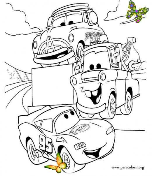 Remember The Movie Cars Coloring This Picture Of Lightning Mcqueen Tow Mater And Doc Hudson Towtruck Tow Truck En 2020 Coloriage Disney Coloriage Voiture Coloriage