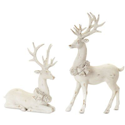 Melrose International 2 Piece Deer Resin Figurine Set In 2020 Decorating With Christmas Lights The Holiday Aisle Christmas Photo Props