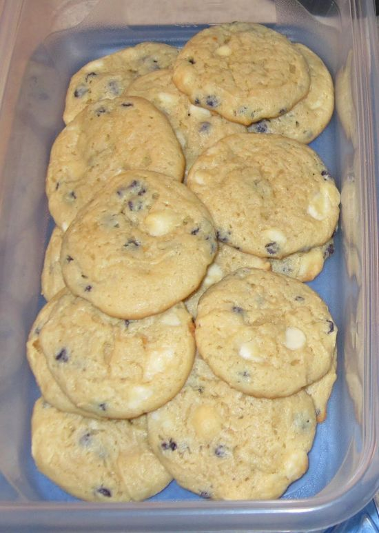 """Blueberry Cheesecake Cookies Ingredients: 2 boxes Jiffy Blueberry Muffin mix 4 oz. cream cheese 1 stick """"I Can't Believe It's Not Butter"""" ½ C. light brown sugar, firmly packed 2 eggs 1 ½ C. white chocolate"""