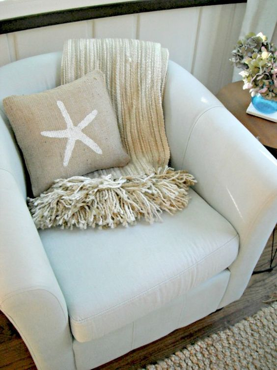 Burlap Throw Pillows Etsy : Starfish decorations, Summer and Pillow covers on Pinterest