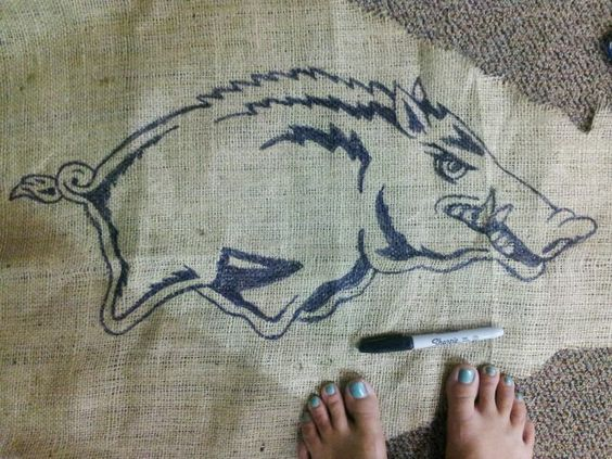 Diy sharpie art on burlap. Arkansas Razorback