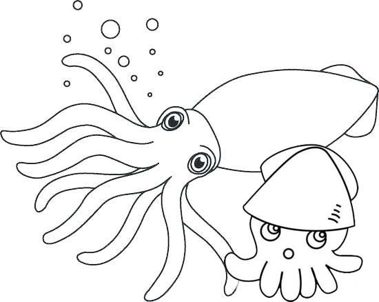 Cute Squid And Baby Coloring Pages Baby Coloring Pages Coloring Pages Animal Coloring Pages