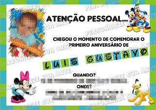 Personalize sua Arte: Convite Aniversário Infantil - Disney