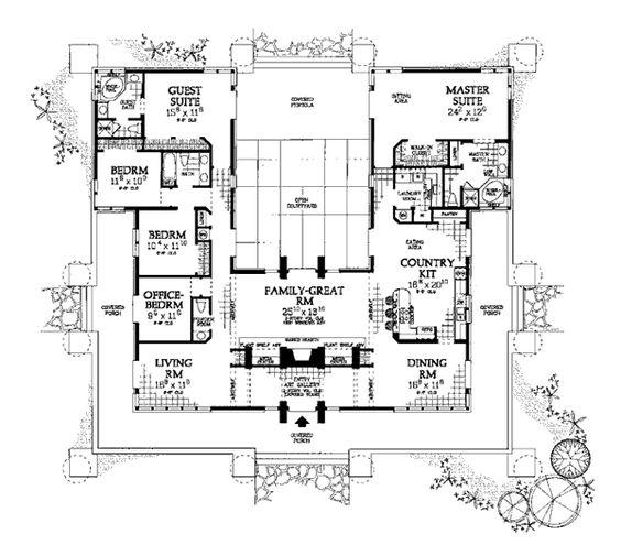 Prairie style southwest house plan 99289 pinterest for Southwest home floor plans