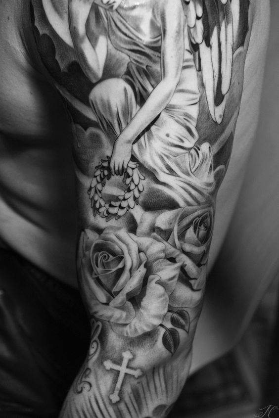 angel rose sleeve by noah close up noah minuskin amazing tattoos pinterest sleeve close. Black Bedroom Furniture Sets. Home Design Ideas