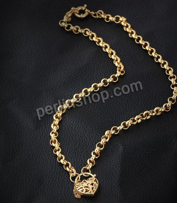 Messing Halskette, Herz, 18 K vergoldet, Rolo Kette, frei von Nickel, Blei & Kadmium, 19mm, verkauft per ca. 22 Inch1 Strang - perlinshop.co...