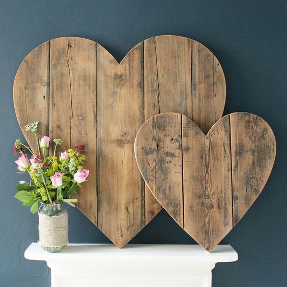 Wooden hearts. I want to do a rustic beach theme for my living room.: