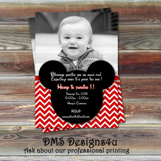 Mickey Mouse Inspired Photo Birthday Invitation  DIY Printing or Printing Services are Available on Etsy, $10.95